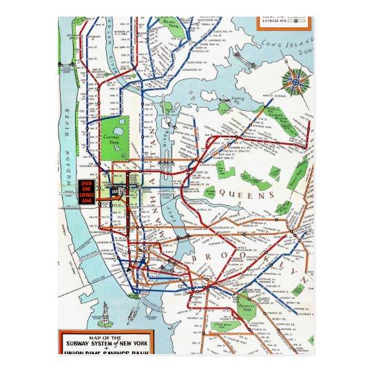 G Subway Map.New York Subway Map 1940 Postcard