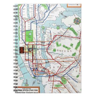 New York: Subway Map, 1940 Spiral Notebook