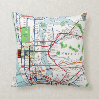 New York: Subway Map, 1940 Throw Pillow