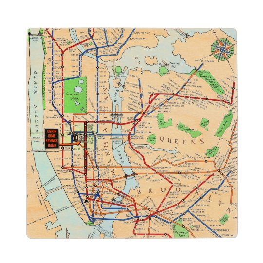 1940 Nyc Subway Map.New York Subway Map 1940 Wood Coaster