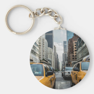 New York Taxi Cabs in the City Keychain