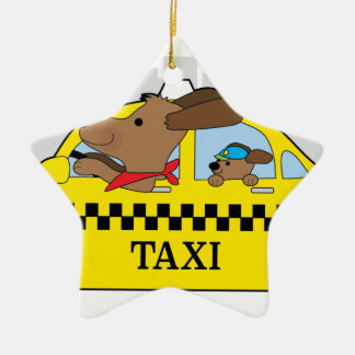New York Taxi Dog Ceramic Ornament
