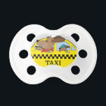 """New York Taxi Dog Pacifier<br><div class=""""desc"""">A dog is driving a taxi in New York. His child is riding in the back seat</div>"""