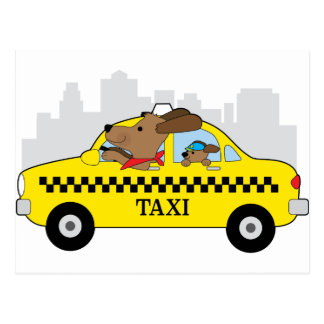 New York Taxi Dog Postcard