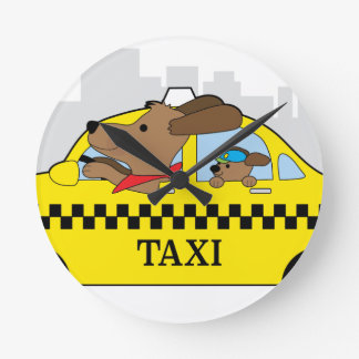 New York Taxi Dog Round Clock