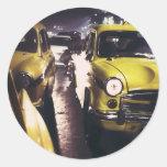 New York Taxi Round Sticker