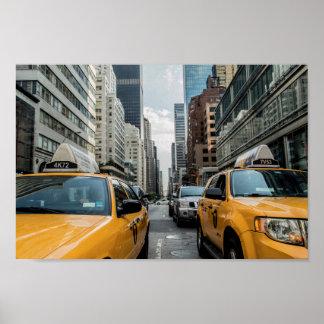 New York Taxi Skyline Poster