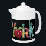 "New York teapot<br><div class=""desc"">Original images of New York painted by Anne Ormsby create the letters of New York.</div>"