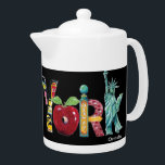 """New York teapot<br><div class=""""desc"""">Original images of New York painted by Anne Ormsby create the letters of New York.</div>"""