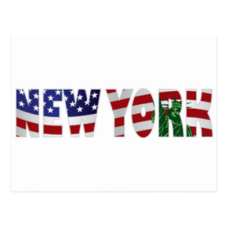 New York Text Outline and Statue of Liberty Postcard