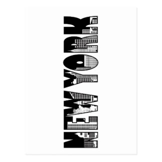 New York Text Outline with Landmarks Drawing Postcard