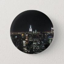 New York The Big Apple Manhattan at Night Gift Button