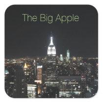 New York The Big Apple Manhattan at Night Gift Square Sticker