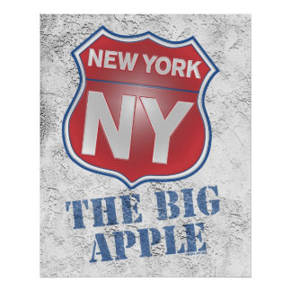 New York the Big Apple Shield Poster
