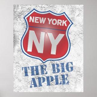 New York the Big Apple Shield Poster