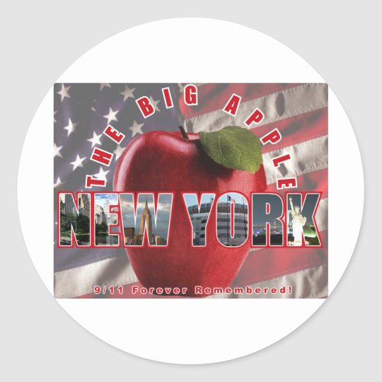 New York The Red Apple - 9/11 Forever Remembered! Classic Round Sticker