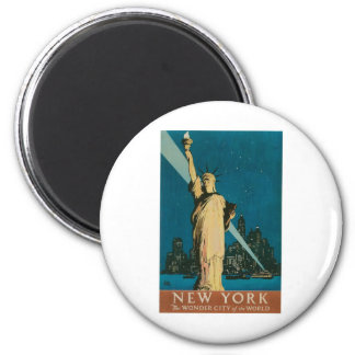 New York: The Wonder City of the World Poster 2 Inch Round Magnet