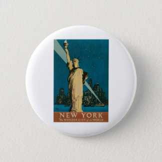New York: The Wonder City of the World Poster Pinback Button
