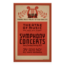 New York Theater music WPA 1940 Vintage Poster