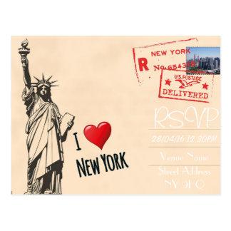 New York Themed Wedding RSVP Invitation with Photo Postcard