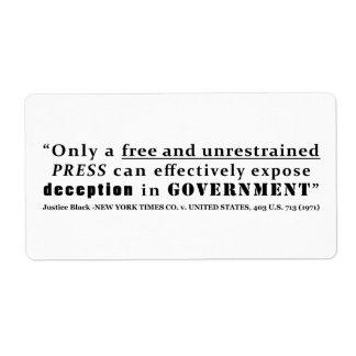 New York Times Co v Estados Unidos 403 nosotros Etiquetas De Envío