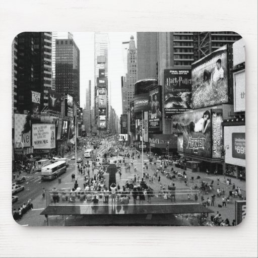New York Times Square Vintage Black and White Mouse Pad