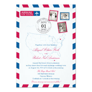 New York to Cancun Mexico Airmail | WEDDING Card