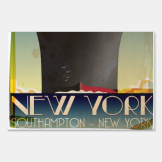 New York To Southampton Yard Sign