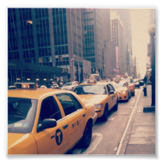 New York Traffic jam taxis Poster