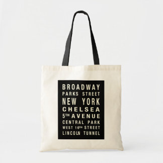 NEW YORK TRAIN SCROLL TOTE CANVAS BAGS