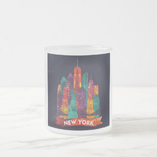 New York - Travel to the famous Landmarks Frosted Glass Coffee Mug