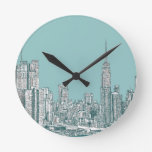 New York turquoise skyline Round Clocks