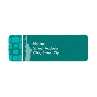 New York; Turquoise Squares; Retro Label