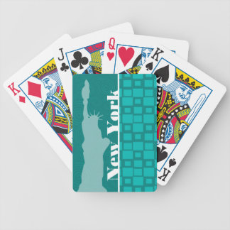 New York; Turquoise Squares; Retro Bicycle Playing Cards