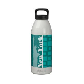 New York; Turquoise Squares; Retro Reusable Water Bottles
