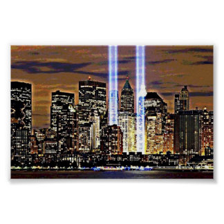 New York Twin Tower Light Beams Poster