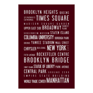 New York typographic poster rosewood
