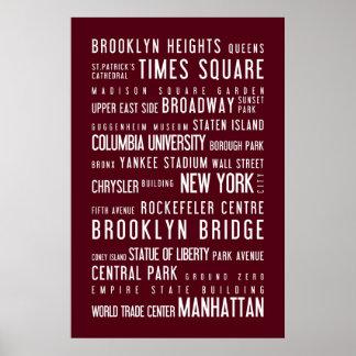 New York typographic poster rosewood