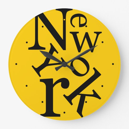 New York Typography Wall Clock