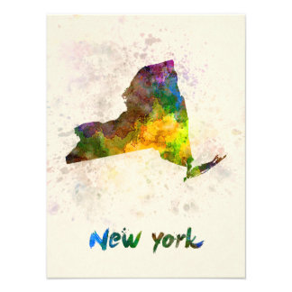 New York U.S. state in watercolor Photographic Print