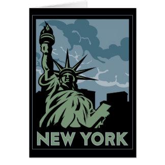 new york united states usa vintage retro travel card