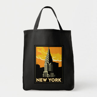 new york united states usa vintage retro travel grocery tote bag