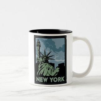 new york united states usa vintage retro travel Two-Tone coffee mug