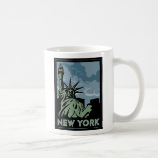 new york united states usa vintage retro travel classic white coffee mug
