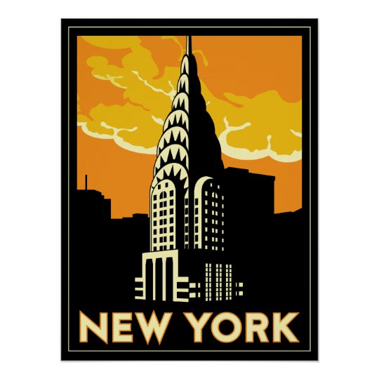 new york united states usa vintage retro travel poster. Black Bedroom Furniture Sets. Home Design Ideas