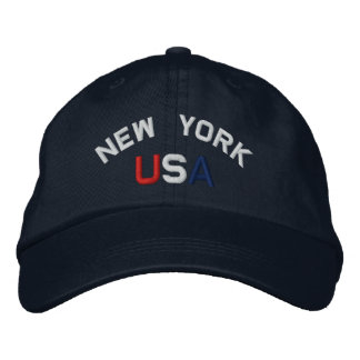 New York USA  Embroidered Navy Blue Hat