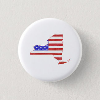 New York USA flag silhouette state map Button