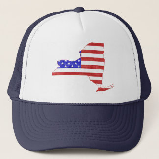 New York USA flag silhouette state map Trucker Hat
