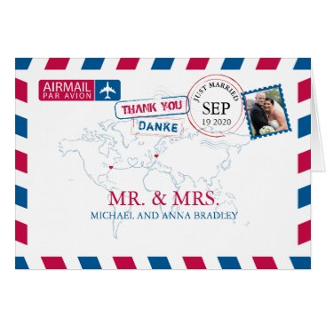 USA Themed NEW YORK USA & GERMANY Airmail Wedding Thank You Card