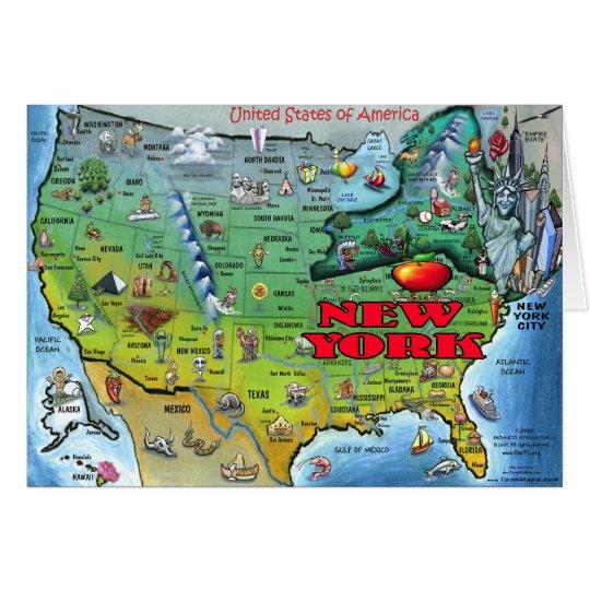 New York USA Map Card